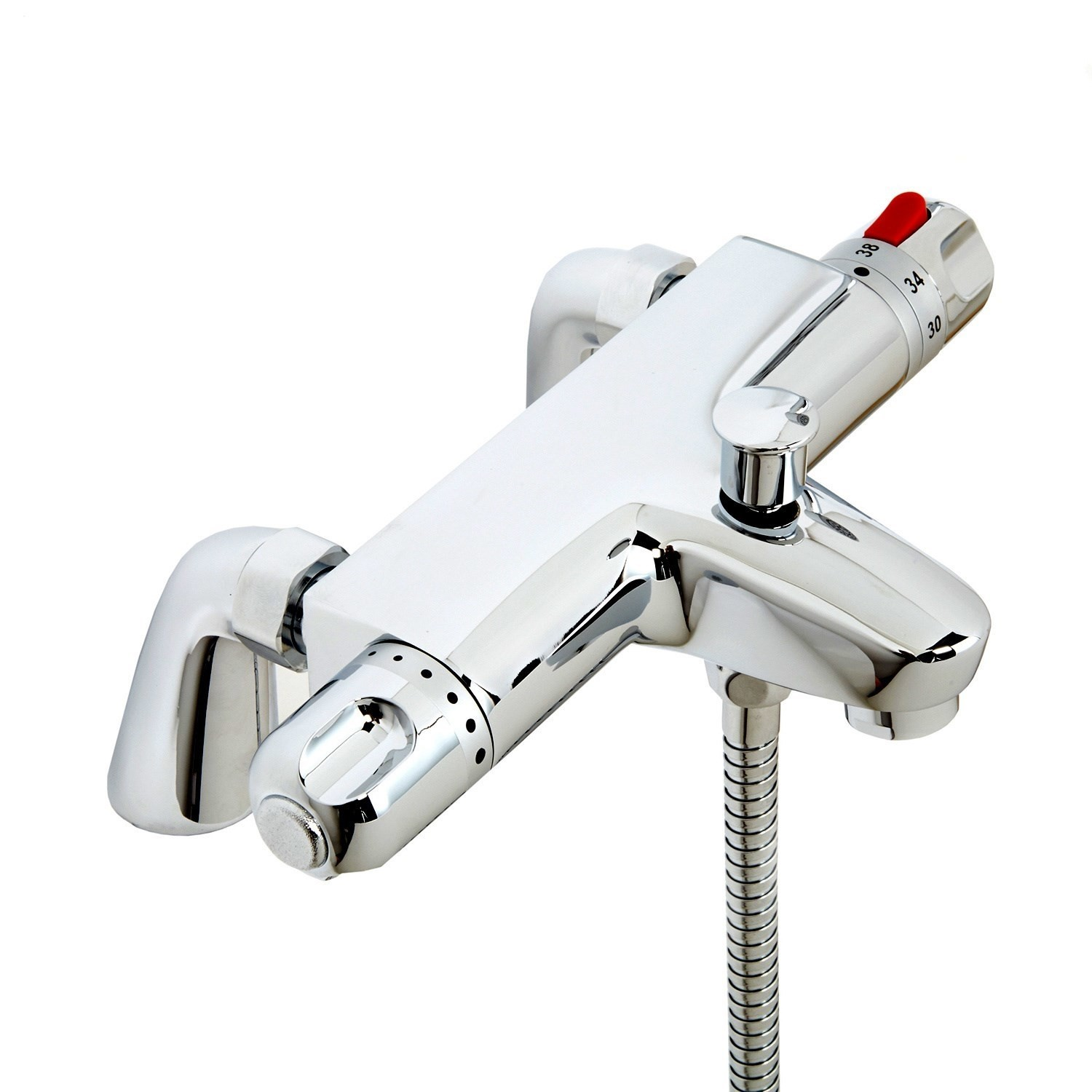 Deck Mounted Thermostatic Bath Shower Mixer Tap Brass