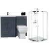 Moderno Left Hand Anthracite Furniture Suite with 900mm Shower Enclosure Tray and Waste