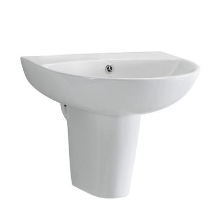 Wall Mount Sink with Semi Pedestal - 1 Tap Hole