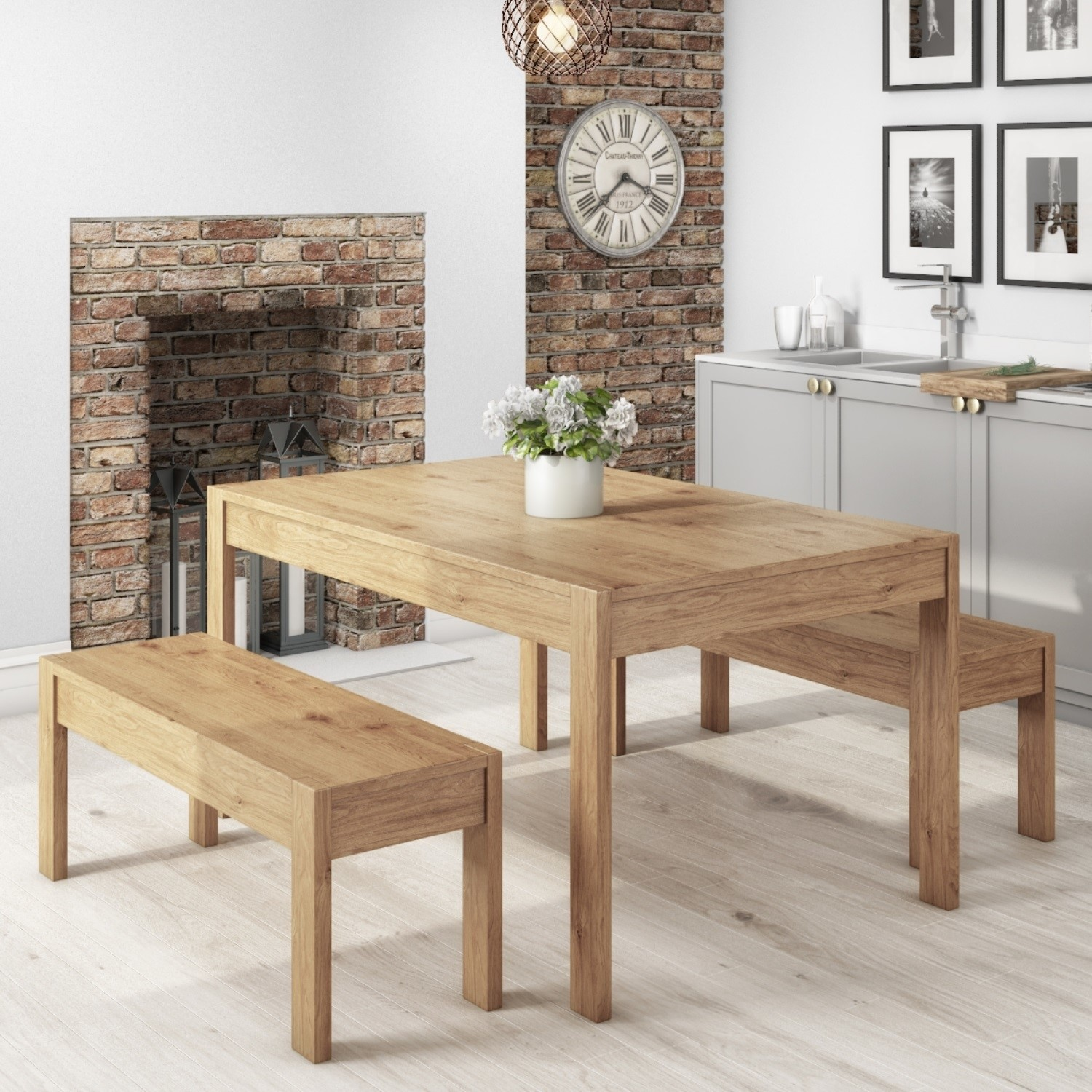 Details about Emerson Solid Pine Kitchen Dining Table Set - Includes 2  Solid Pine Benches