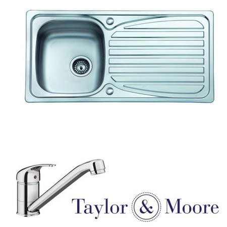 Reversible Stainless Steel Single Bowl Kitchen Sink with Single Lever Kitchen Sink Mixer Tap