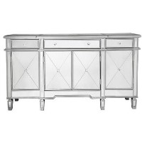Aurora Boutique Mirrored TV Unit with Cupboards & Drawers & Crystal Handles - TV's up to 73