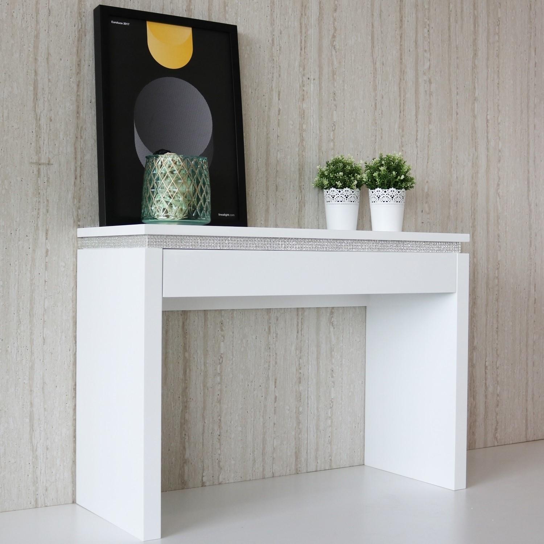 Modern White High Gloss Dressing Table Console Diamante ...