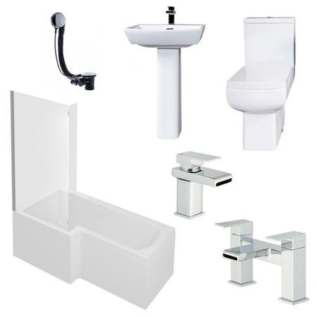 Delta Left Hand L Shaped 1700 Shower Bath Suite