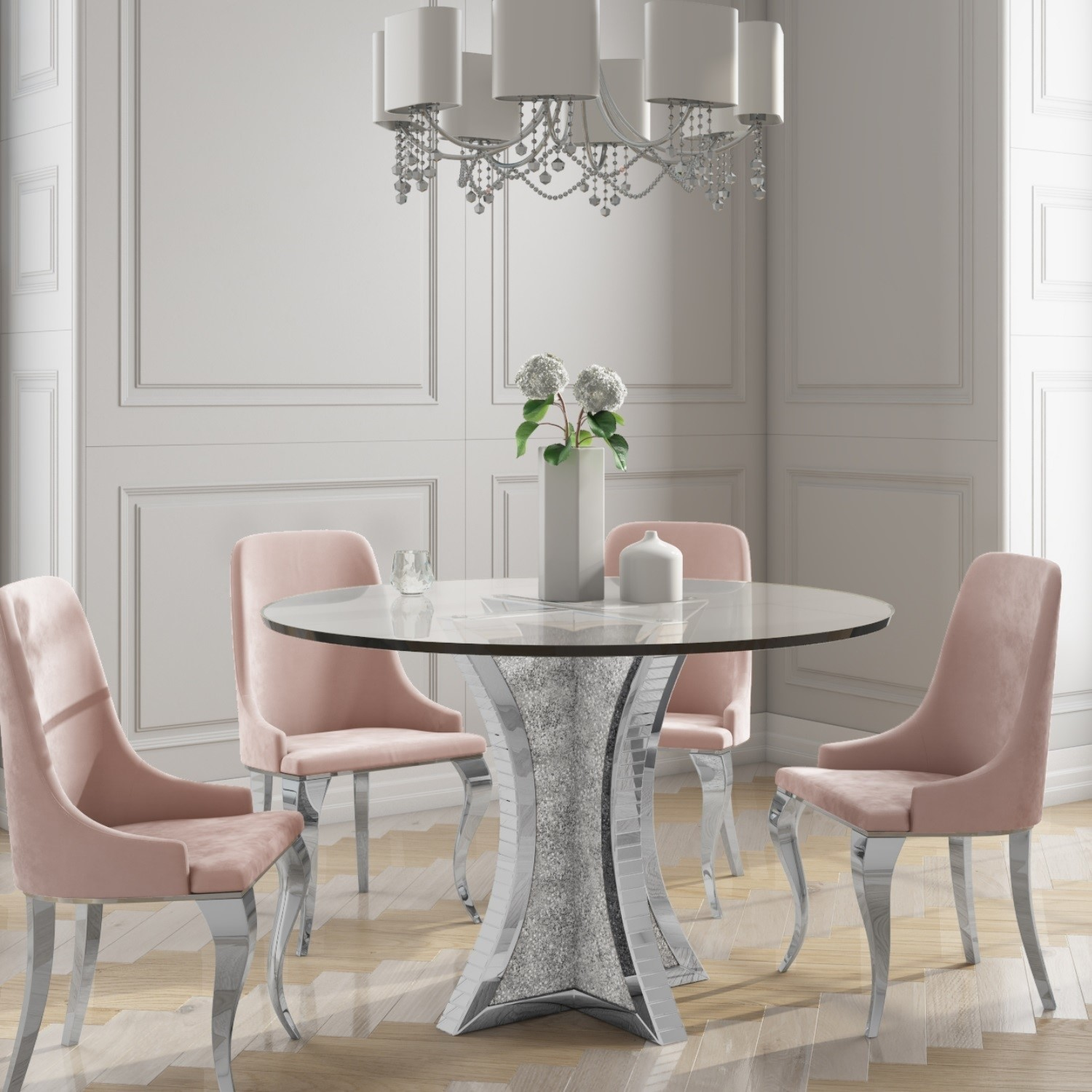Details about Round Mirrored Dining Table & 9 Chairs in Pink Velvet    Angelic BUN/JAD9/9