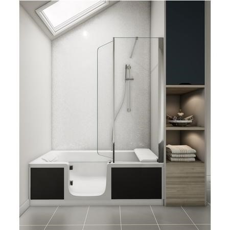 Kineduo Left Handed Walk-In Shower Bath with Screen and Black Panel 1700 x 750mm - Recess Installation