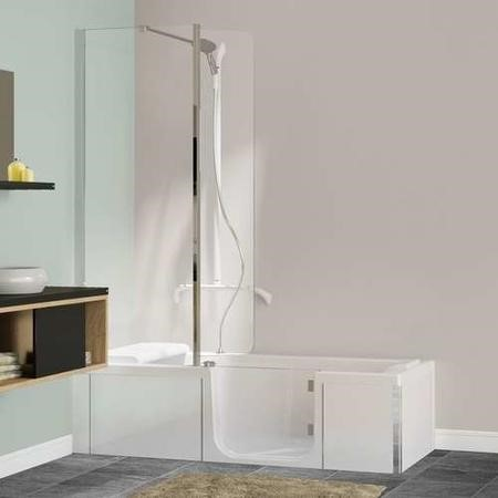 Kineduo Right Handed Walk-In  Shower Bath with Screen and White Panels 1700 x 750mm - Corner Installation