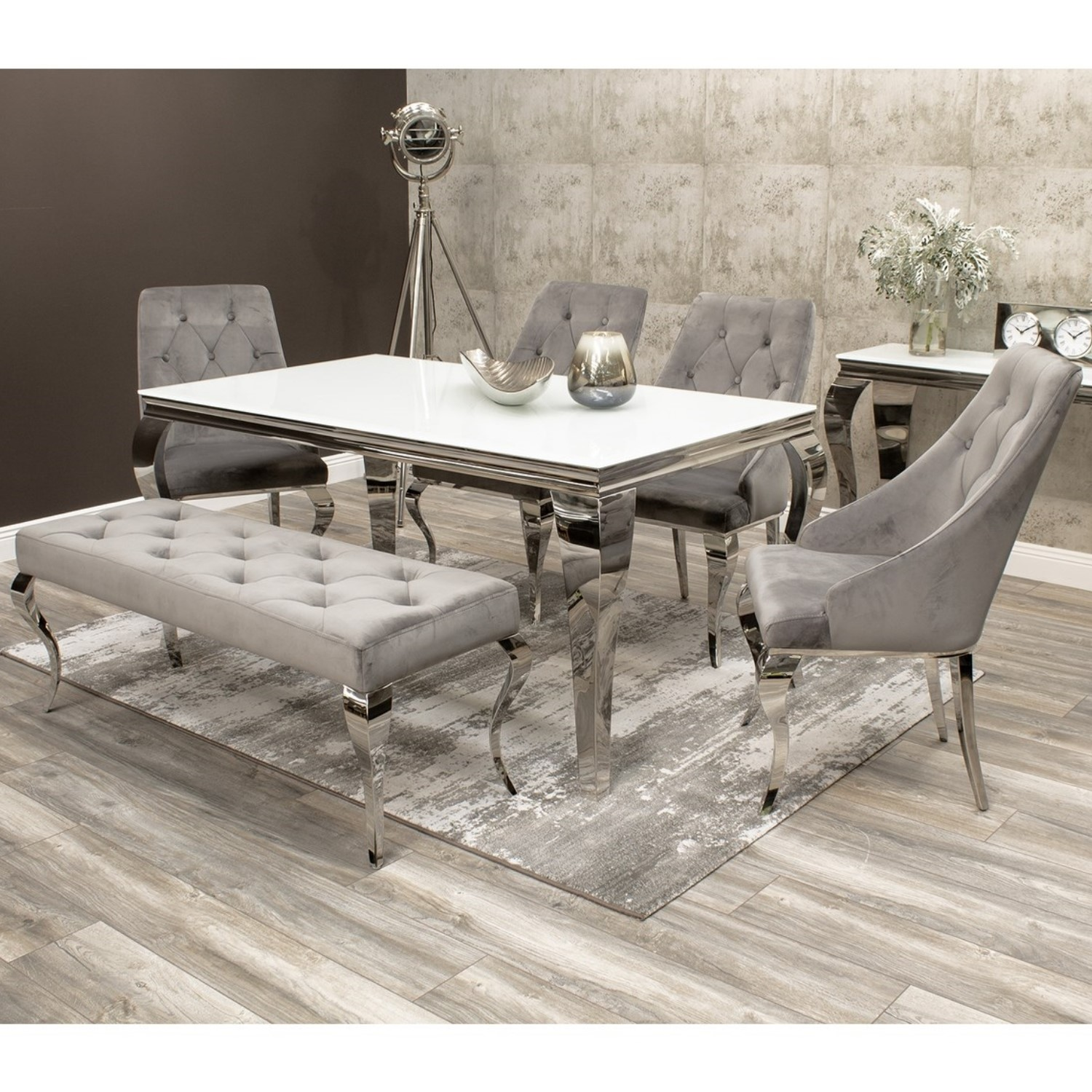 Louis White Dining Table 160cm with 4 Grey Velvet Chairs ...