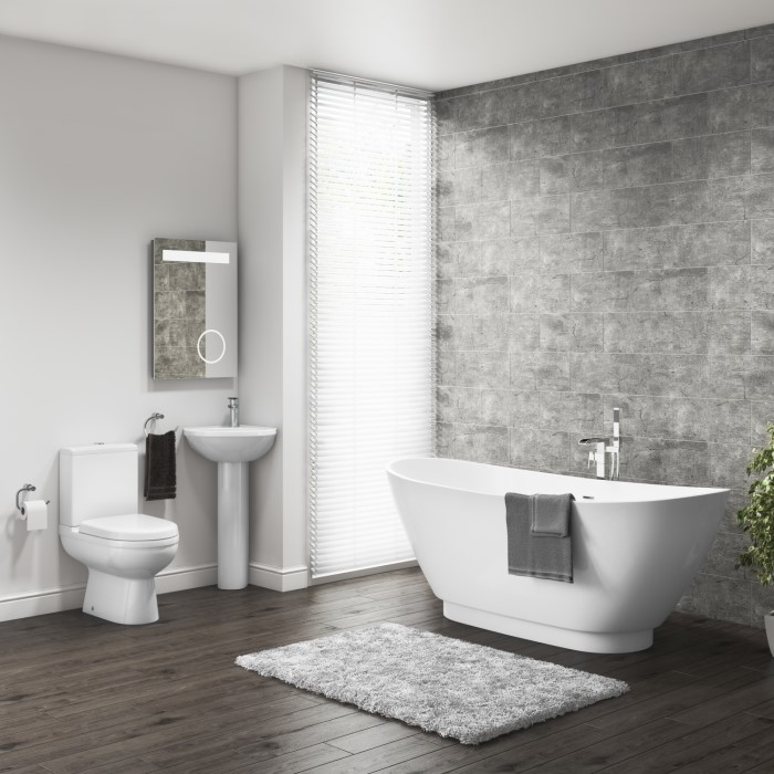 Modern Freestanding Bath Suite with Curved Toilet & Corner Sink ...