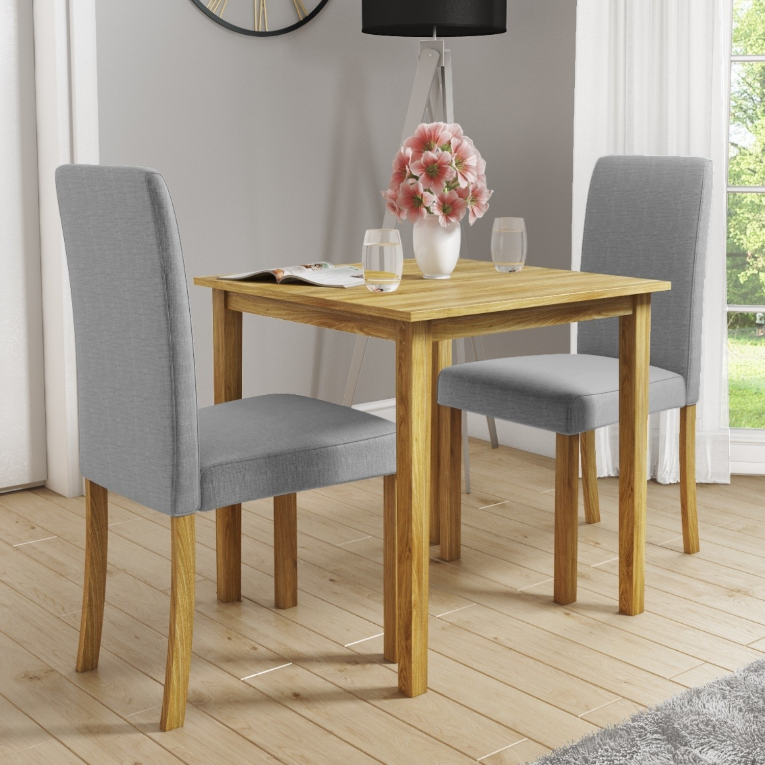 Super Details About New Haven Small Kitchen Dining Set With 2 Grey Upholstered Chairs Andrewgaddart Wooden Chair Designs For Living Room Andrewgaddartcom