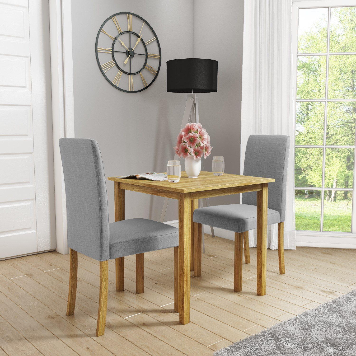 Details about New Haven Small Kitchen Dining Set With 10 Grey Upholstered  Chairs