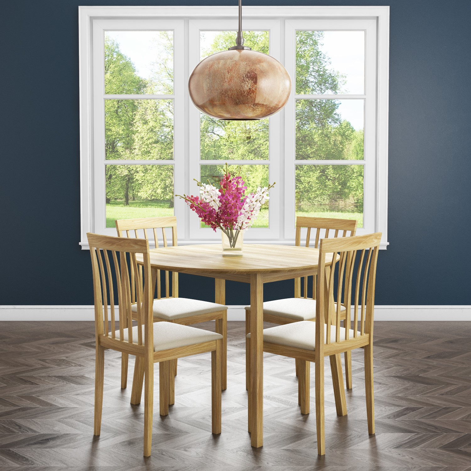 New Haven Round Drop Leaf Kitchen Dining Table With 4 Cream Fabric