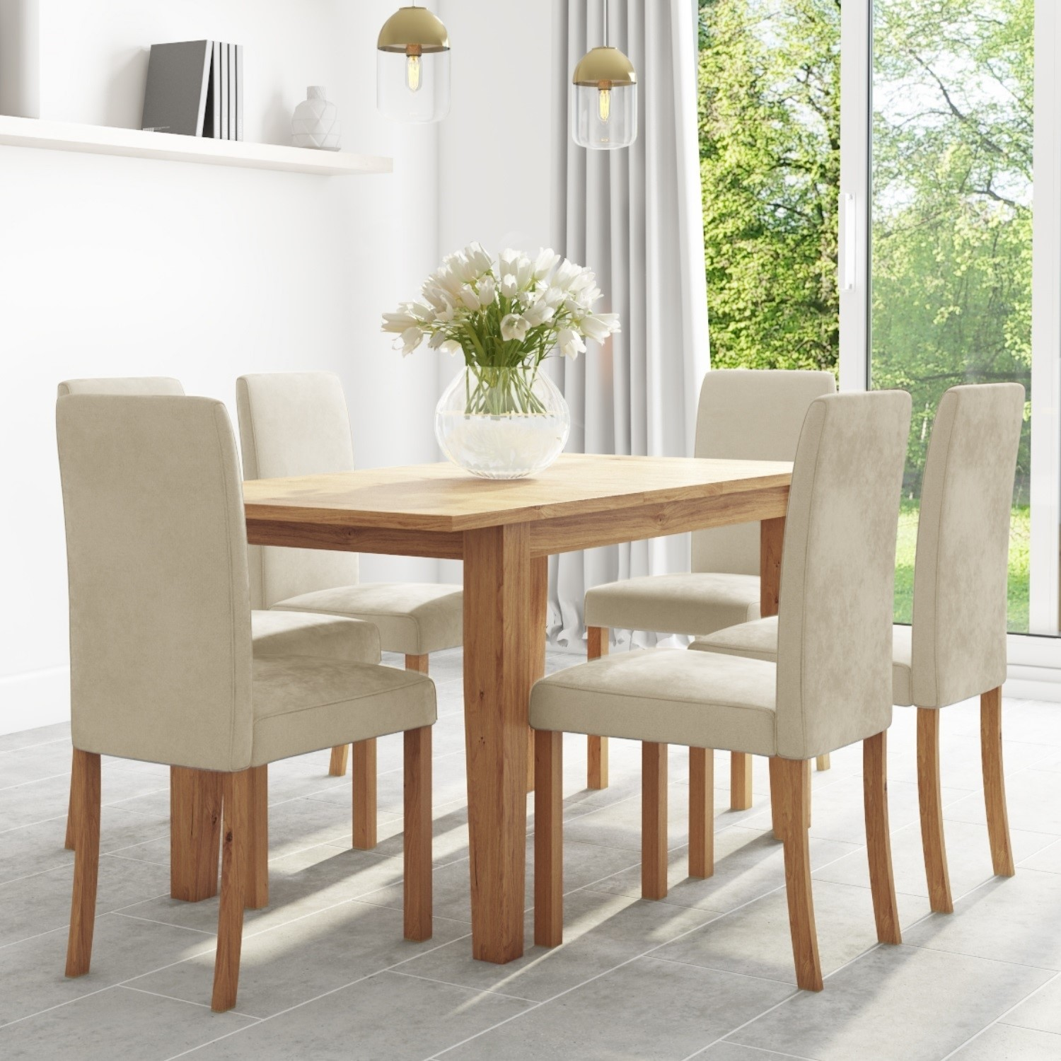 Picture of: Oak Extendable Dining Table 6 Cream Velvet Chairs New Haven Bun Nha027 76624 Ebay