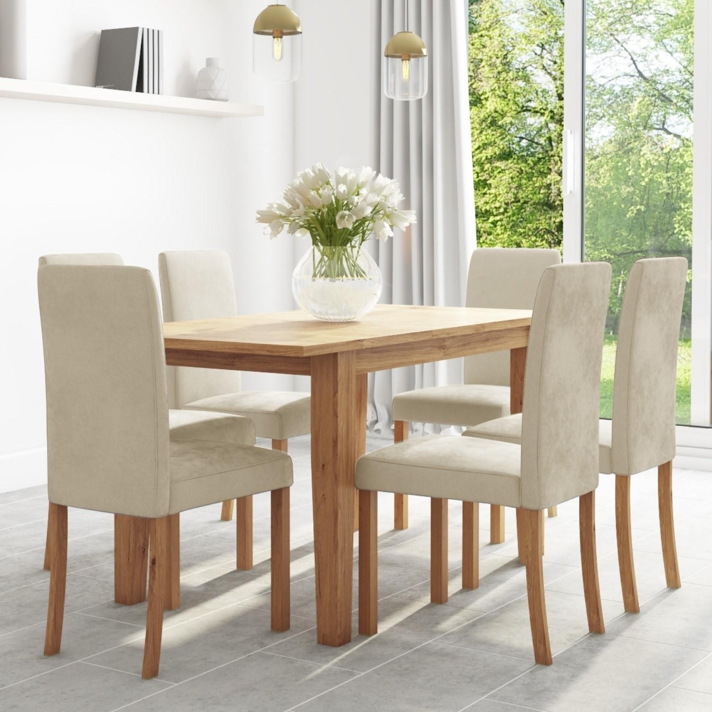 Oak Extendable Dining Table & 9 Cream Velvet Chairs   New Haven ...
