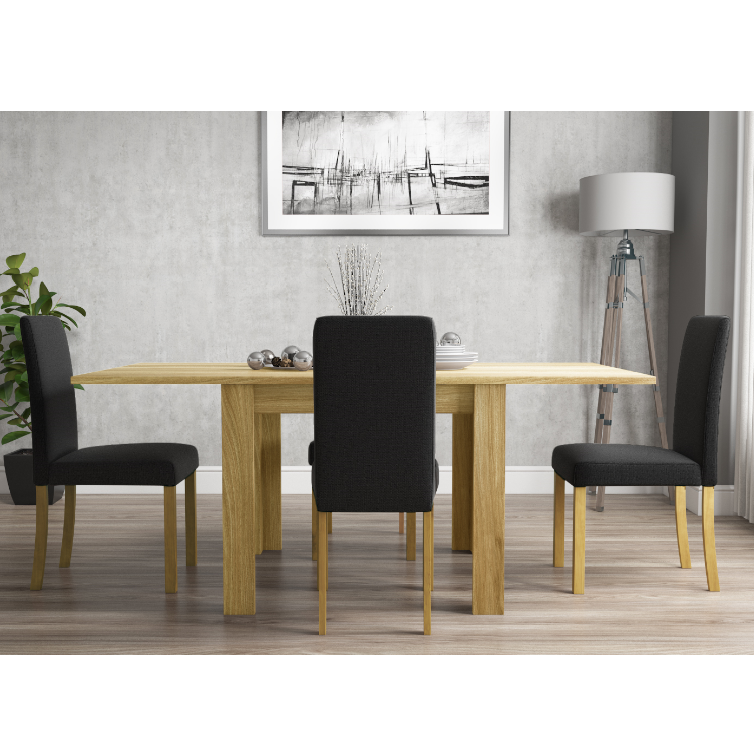 Picture of: New Town Flip Top Oak Effect Kitchen Dining Set With 4 Grey Fabric Chairs Ebay