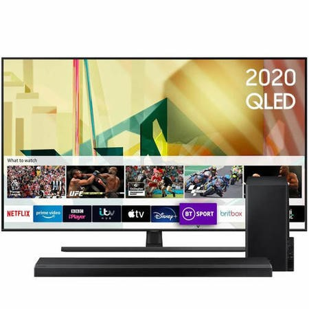 "Samsung QE55Q70TATXXU 55"" 4K Ultra HD Smart QLED TV with Soundbar and Subwoofer"