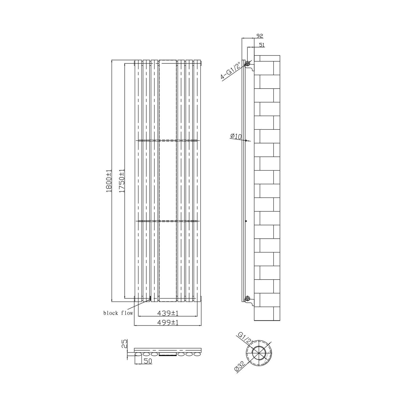 Vertical Anthracite Mirrored Radiator - 1800 x 499mm