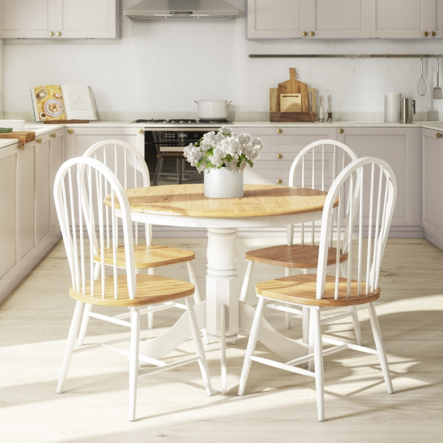 Round Kitchen Table And Chairs: Rhode Island Natural & White Round Kitchen Dining Table