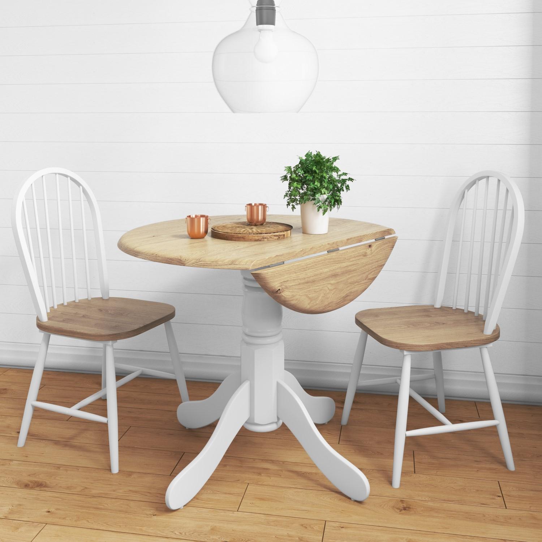 Rhode Island Round Drop Leaf Kitchen Dining Table 2 Windsor Chairs 5060388567750 Ebay