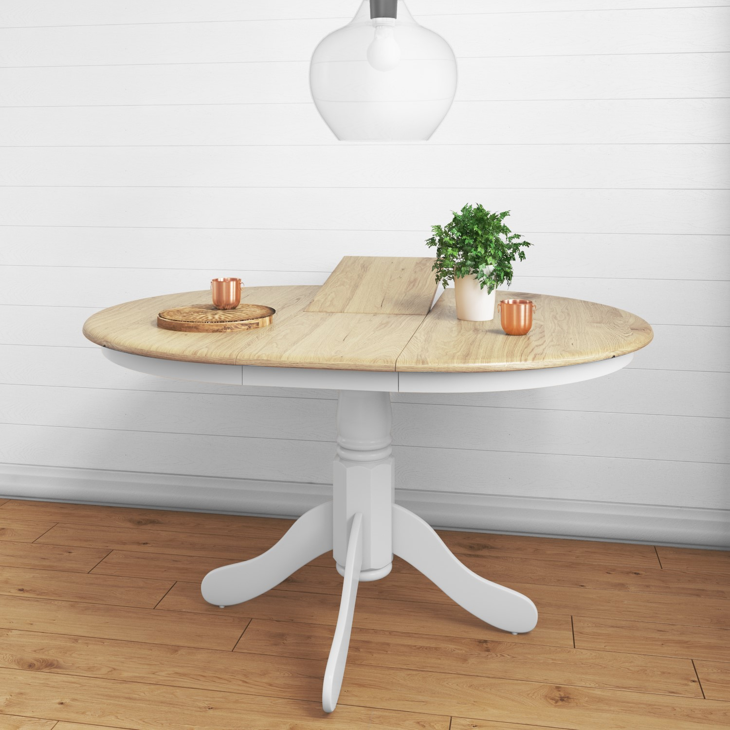Rhode Island Round Extending Kitchen Dining Table With 4