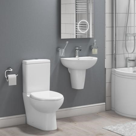 Curved Toilet and Basin Bathroom Suite with Wall Mount Sink