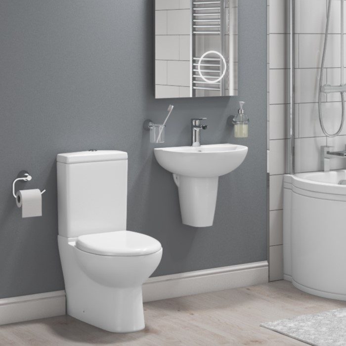 Curved Toilet and Basin Bathroom Suite with Wall Mount Sink ...