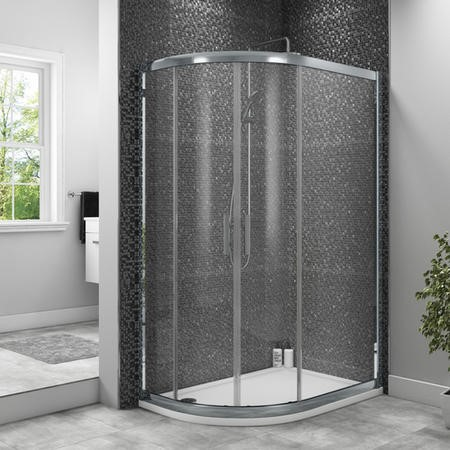 Taylor & Moore Offset Quadrant Shower Enclosure with Twin Sliding Doors 800 x 1000mm & Offset Quadrant Acrylic Capped Stone Resin Shower Tray