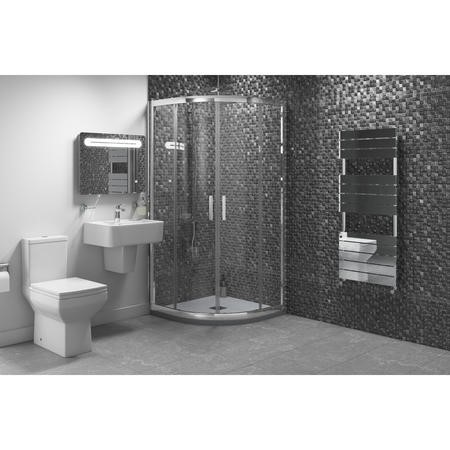 900 x 900mm Quadrant Shower Enclosure Suite with Square Toilet & Wall Mount Sink