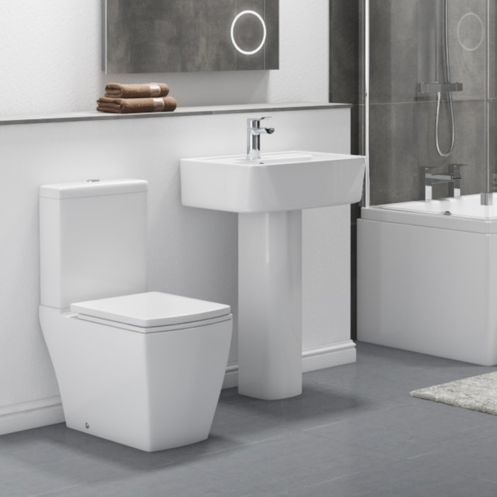 Modern Square Toilet and Basin Bathroom Suite with Comfort Height ...