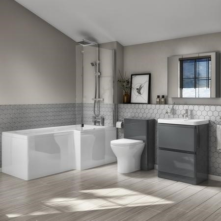 Left Hand L-Shaped Bath Dark Grey Combi & Portland Back to Wall Pan