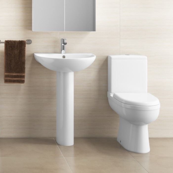 Modern Curved Toilet and Basin Bathroom Suite | Appliances Direct