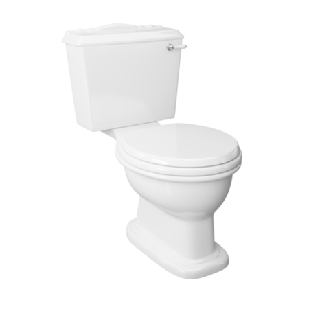 Traditional Close Coupled Toilet with Toilet Seat and Lever Flush