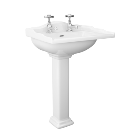 Traditional 2 Tap Hole Full Pedestal Sink - 535mm Wide