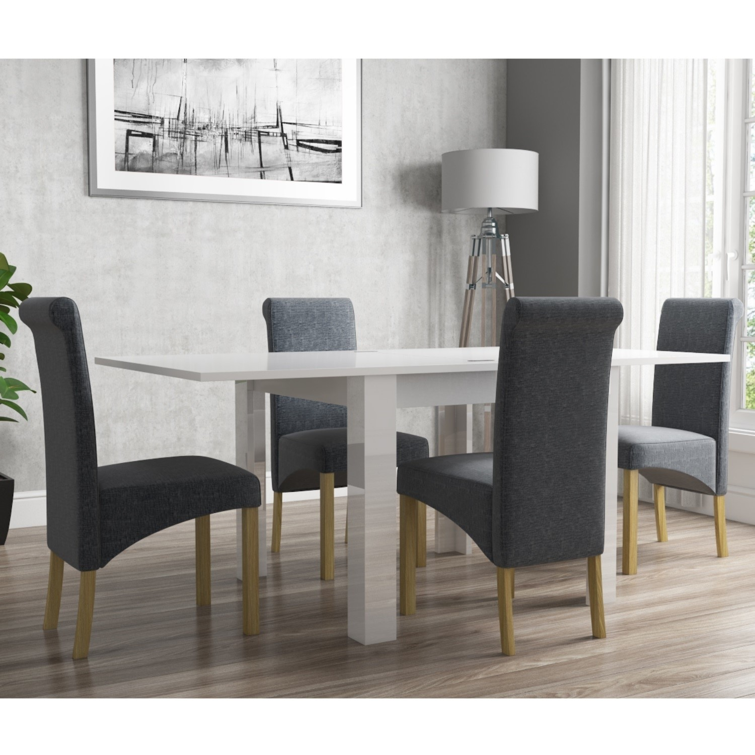 Picture of: Vivienne Flip Top White Gloss Kitchen Dining Table And 4 Grey Roll Back Chairs 5056096014112 Ebay