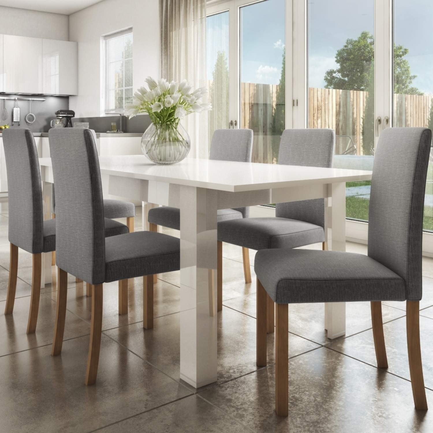 Details about Vivienne White High Gloss Kitchen Dining Table + 12 Grey  Fabric Chairs