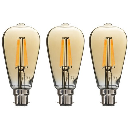 electriQ Smart dimmable Wifi filament bulb with B22 bayonet fitting - 3 Pack