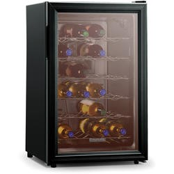 Baumatic BW28BL Freestanding 28 Bottle Beverage Centre Black With Smoked Glass