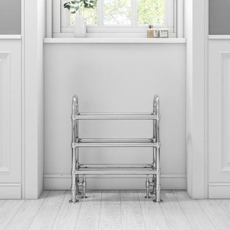 Chrome Traditional Floorstanding Towel Radiator - 683 x 228 x 778mm
