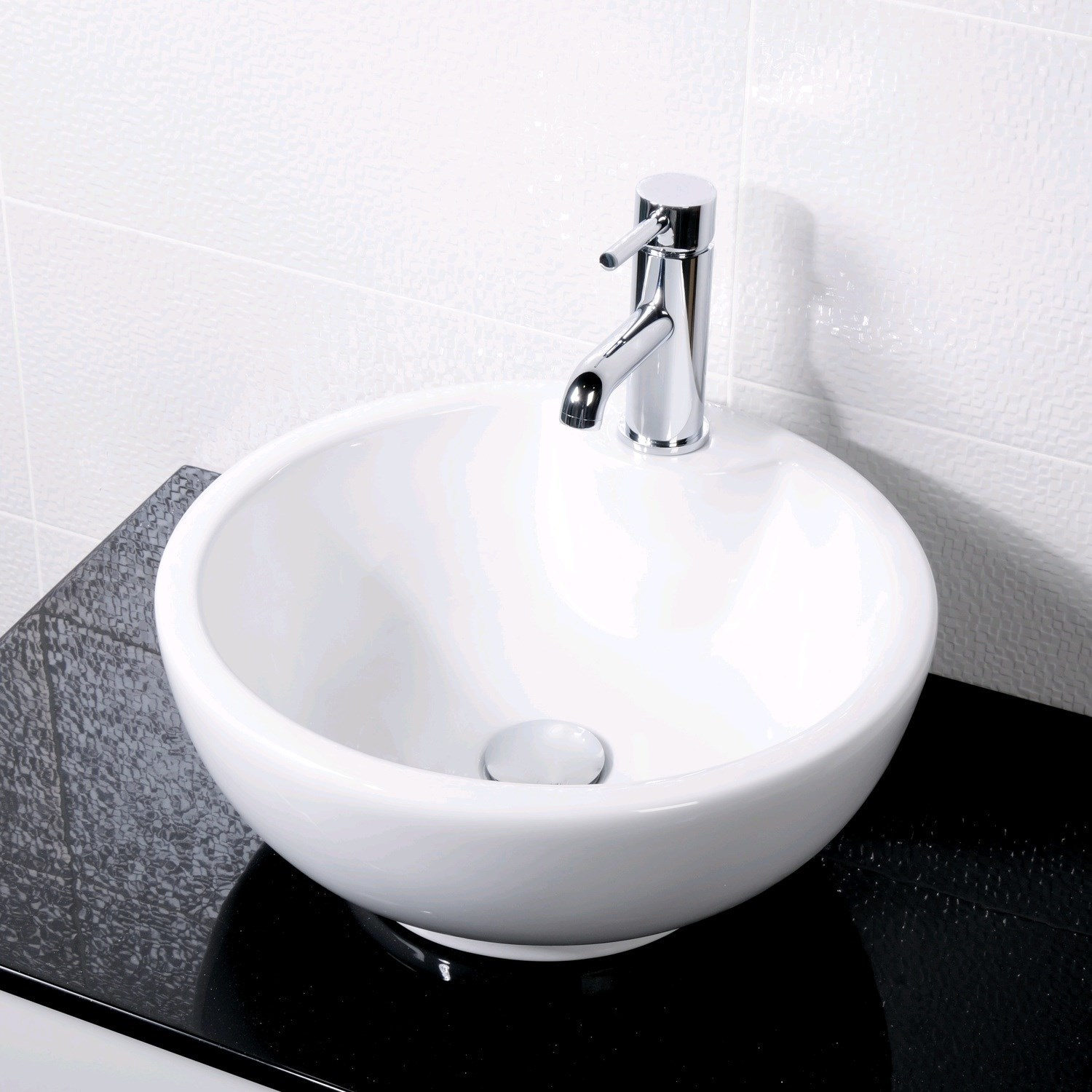 Round Counter Top Basin 1 Tap Hole White Ceramic Wash Bowl