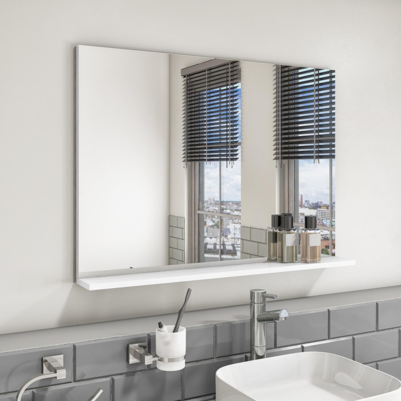 900mm Wall Mounted White Oak Mirror with Shelf Landscape ...