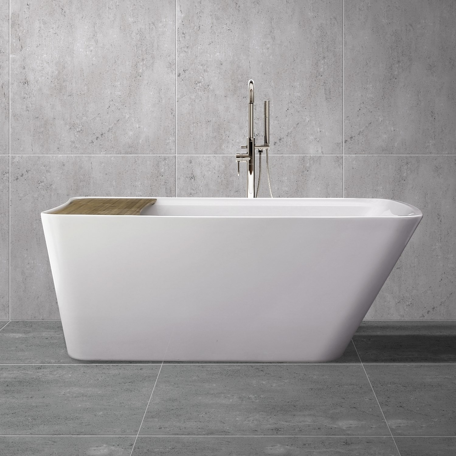 Details About Freestanding Bath With Bath Bridge 1700 X 780mm White Acrylic Single Ended Tub
