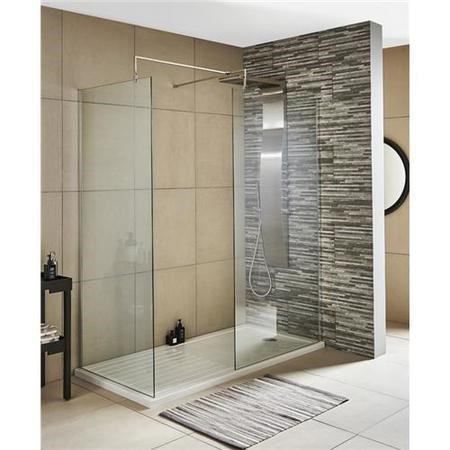 Wetroom Screen with Support Bar 800mm - 8mm Glass