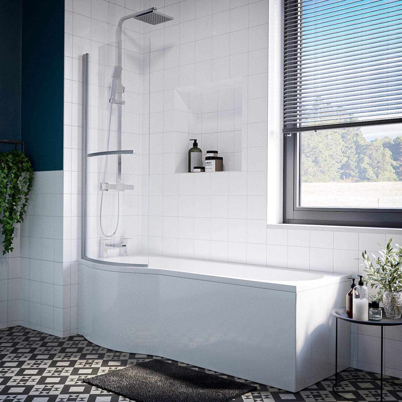 Portland Left Hand P Shape Shower Bath 1500 X 800mm Beba 24908