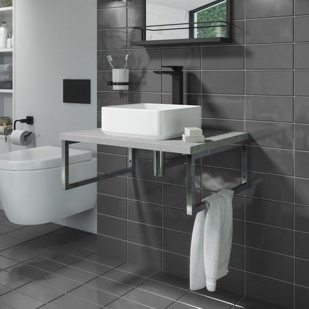 600mm Vanity Shelf for Basin Concrete Effect - Lund
