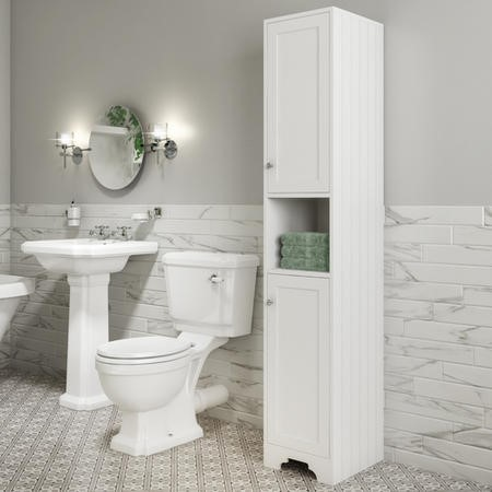 Traditional Tall Boy Bathroom Cabinet - Doors & Shelves - Matt White - Baxenden