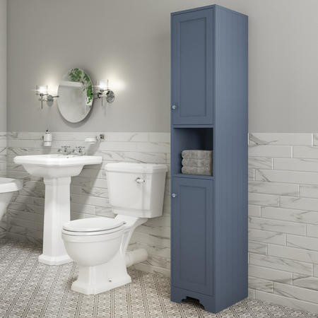 Traditional Tall Boy Bathroom Cabinet - Doors & Shelves - Matt Blue - Baxenden