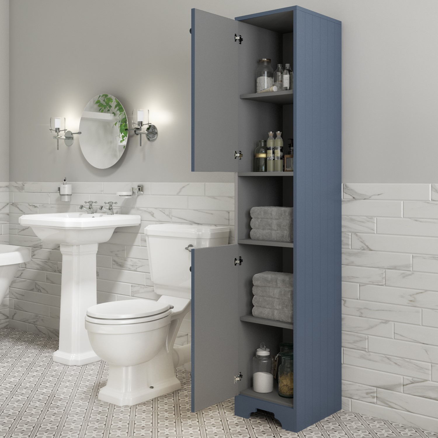 Traditional Tall Boy Bathroom Cabinet Doors Shelves Matt Blue Baxenden Beba 24985 Appliances Direct