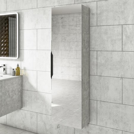 1400mm Wall Hung Tall Boy Mirror Cabinet Concrete Effect - Sion