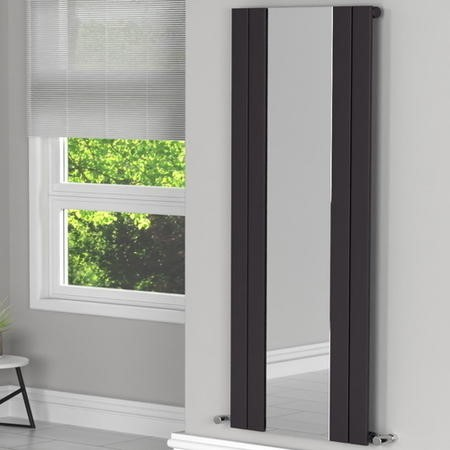 Tanami Anthracite Single Panel Vertical Radiator with Mirror - 1800 x 600mm