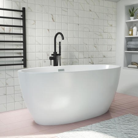 Alvor Matt White Oval Double Ended Freestanding Bath - 1500 x 720mm